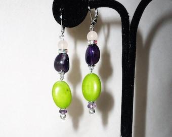 Oval Green Peridot Amethyst Earrings****