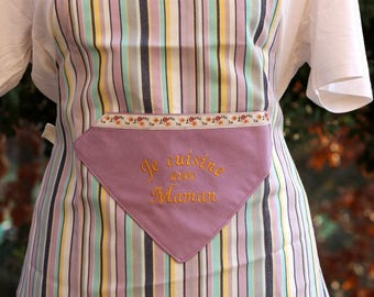 Child apron machine embroidery I cook with MOM OOAK