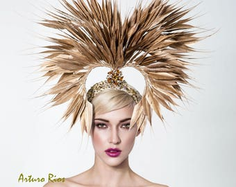 Golden feathered headpiece, Couture gold headpiece, Couture hat
