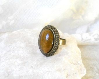 bohemian tigers eye ring boho ring bronze ring stone ring gemstone ring tigers eye jewelry boho ring boho jewelry bohemian adjustable