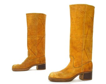 70s Campus Boots / Brown Leather / Women's sz 6.5