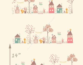 Children's Border Animal Print Fabric, Moda Corner of 5th & Fun 17900 11 Sandy Gervais, Cream Baby Quilt Fabric, Animal Quilt Fabric, Cotton