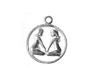 Sterling Silver Zodiac Gemini Charm For Bracelets