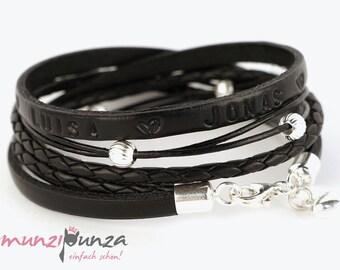 Fine leather & 925 silver bracelet article 201 name bracelet