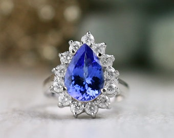 ONE-OF-A-KIND: Tanzanite and Diamond Halo Engagement Ring  | Solid 14K Gold | Polished Finish | Fine Jewelry | Free Shipping