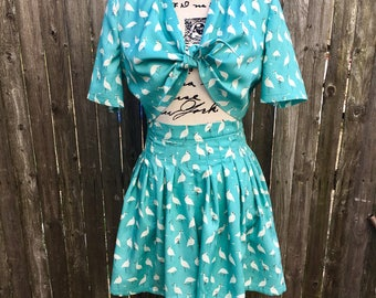 1940's Vintage Reproduction Two Piece Playsuit in Birds