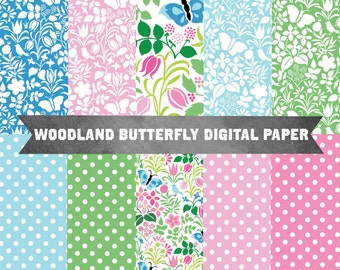 Woodland Pattern Digital Paper Pack, Instant Digital Download, Commercial Use, Butterfly Digital Paper