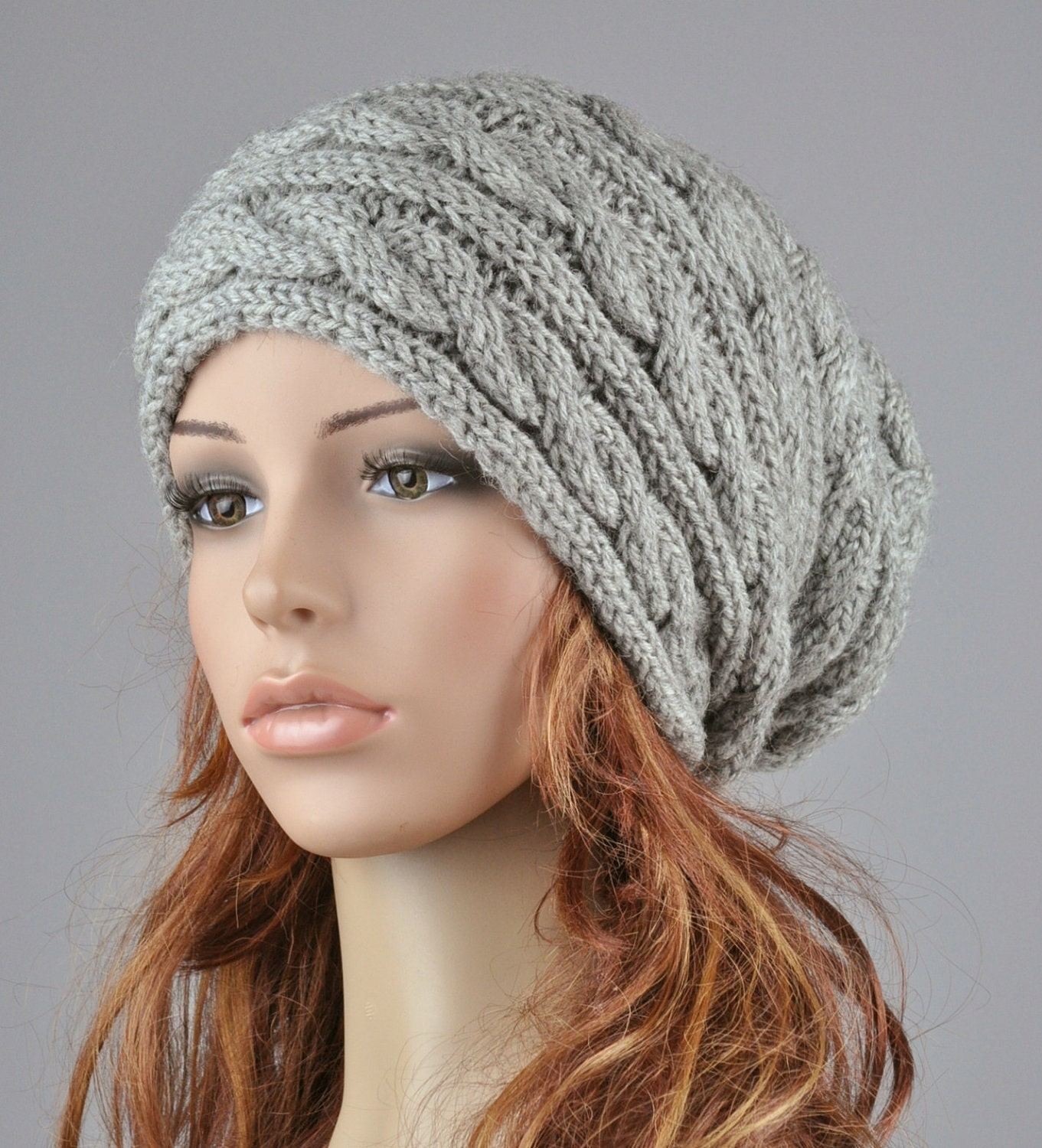 Hand knit woman man unisex hat Grey Chunky Wool Hat slouchy hat ... 699c2dbd621