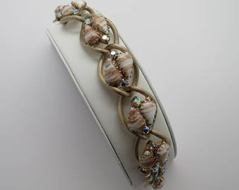 Vintage Rhinestone and White and Gold Flecked Link Bracelet