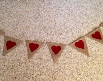 Mini Red Hearts Burlap Banner Valentine Day Bunting Garland