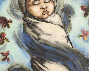 Baby's room Nursery art Original OOAK monotype print Restful Dream