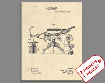 Barber Art Chair Patent Prints Vintage Shop