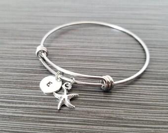 Starfish Bangle - Starfish Charm Bracelet - Expandable Bangle - Charm Bangle - Starfish Bracelet- Initial Bracelet - Star Fish Bracelet