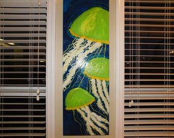 Jellyfish, Bright, Green, Blue, Ocean, Whimsical, Water, Nautical, Beachy