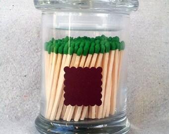Glass Match Holder Jar - Scalloped Square Striker