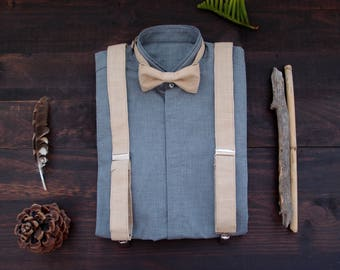 Linen suspenders and bow tie, cream suspenders set, rustic groomsmen gift, gift for stylish men, vegan suspenders set, vegan groom