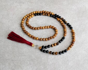 The LEO Mala - Black Onyx & Tigerseye with Quartz Crystal / Robles Wood - Red Tassel - Intuitive - Sympathetic - Item # 705