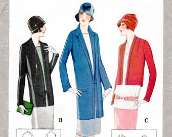 1920s 20s outerwear pattern 3 styles // cropped  bolero, jacket, duster coat // vintage sewing pattern reproduction // bust 32 34 36 38 40