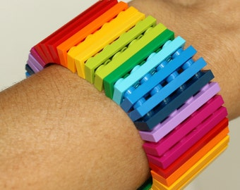 Rainbow - 1 x 4 Bracelet made with LEGO® - Jewelry made with LEGO®