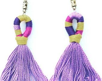 Purple Gold Tassel Earrings Fringe Earrings