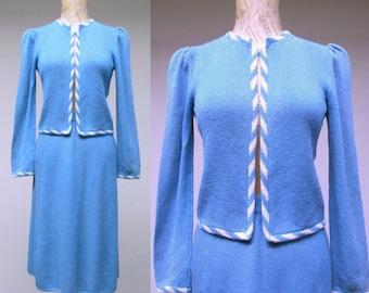 Vintage ST. JOHN Suit / 1970s Blue Knit Jacket and Skirt Set / Small - Medium