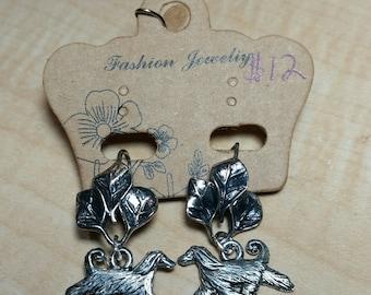 Silver Tone Leaf Afghan Hound Earrings