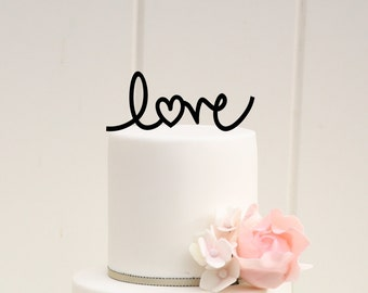 LOVE with Heart Wedding Cake Topper Custom Design