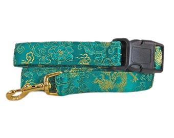 Fancy Dog Leash, Matching Leash, Silk Brocade Dog Lead, Hands Free Leash, Custom Dog Leash, 4 Foot Dog Leash, Emerald Green Dragons