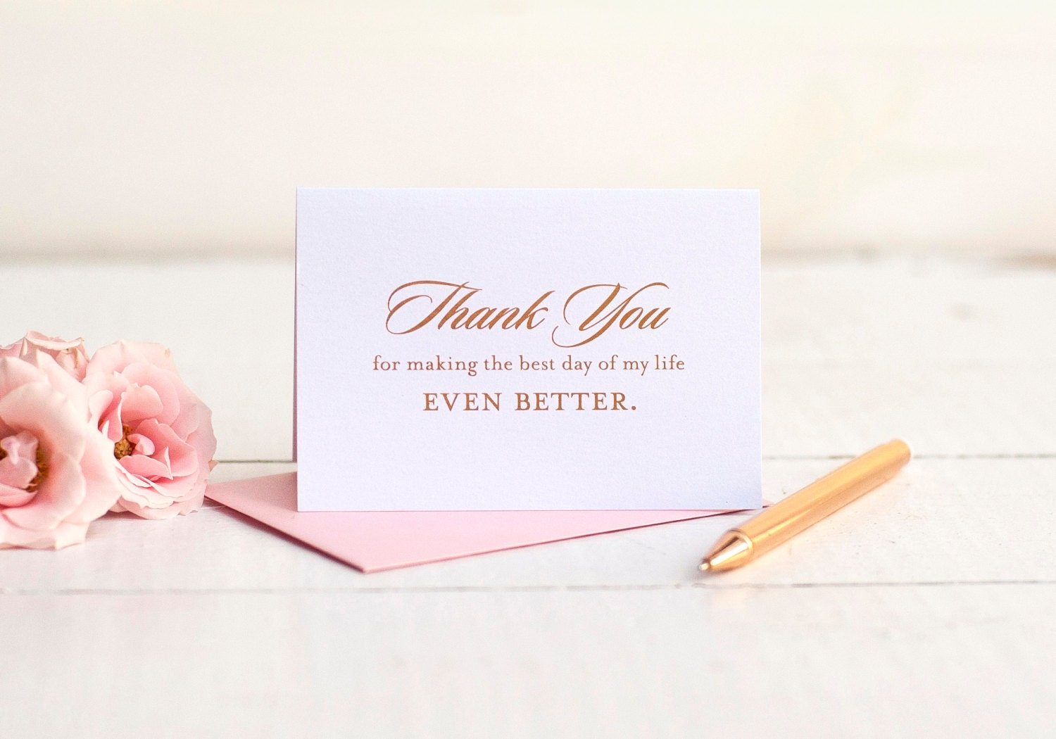 Wedding Thank You Card with rose gold foil wedding note cards