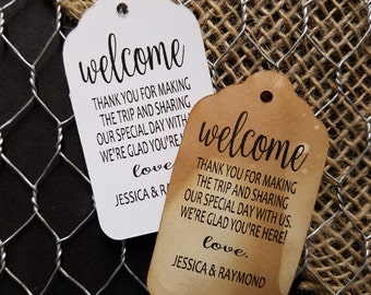 Welcome Thank you for making the trip MEDIUM Personalized Wedding Favor Tag  choose your amount