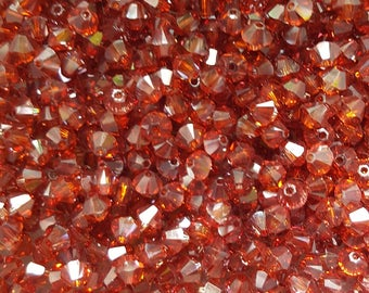 Swarovski 4mm Bicone (5328) Faceted Crystal Beads - RED MAGMA - Select 10, 20, 50 or 100