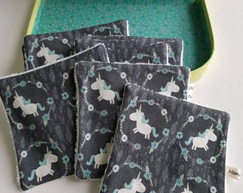 Washable wipes - baby wipes - unicorns pattern