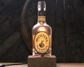 Handmade Recycled Michter's Bourbon Bottle Lamp - Features Reclaimed Wood Base, Edison Bulb, Twisted Cloth Wire, Father's Day Gift