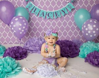 FIRST BIRTHDAY GIRL Banner . 1st birthday girl .  Cake smash banner . Smash cake. Baby shower banner . I am one . Highchair banner . Purple