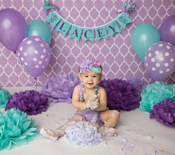 FIRST BIRTHDAY GIRL Banner 1st birthday girl Cake smash
