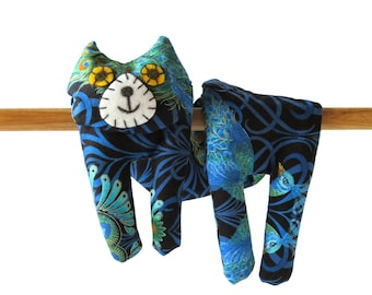 Flat Cat, Hot Cold Rice Bag, Microwave Neck Wrap, Rice Heating Pad, Hot Cold Therapy Pack, Turquoise Aquamarine Dark Blue, Cat Lover Gift #2