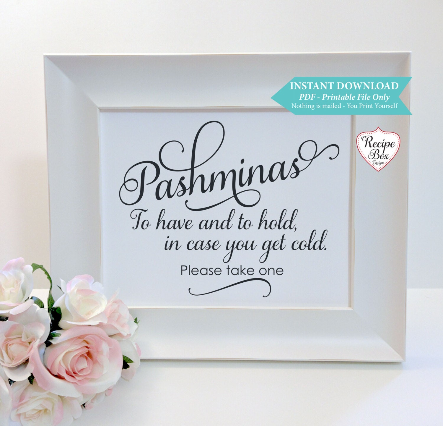 Pashminas Blankets Wedding Sign Printable Sign Instant