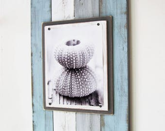 BIG 14x22 Distressed multi colored Plank Frame for 8X10 Seafoam, Gray and White