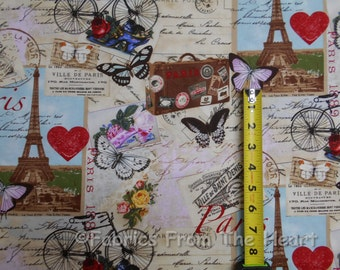 Paris Eiffel Tower Post Cards Butterfly BY YARDS Timeless Treasure Cotton Fabric