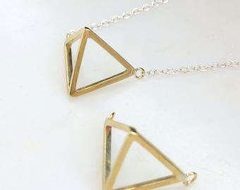 Double Triangle Necklace - Triangle Necklace - Brass Triangle Silver Chain Necklace - 3D Triangle Necklace