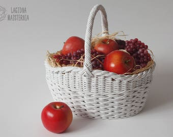 White wicker basket with handle Oval Easter basket Wicker storage Picnic basket for shopping Gathering basket Wicker gift White home decor