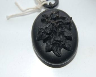 Vintage Victorian vulcanite mourning locket.