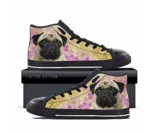 Girl's Pug Print Canvas Sneaker