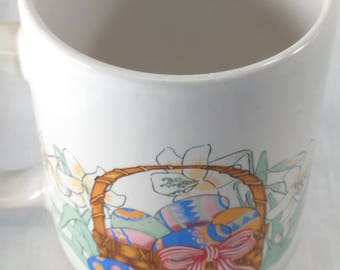 Ceramic Easter White Mug/Lilies, Eggs and Basket/12 Ounces/Pre-Owned