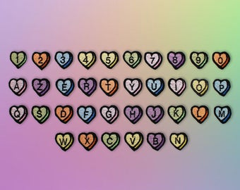 PATCH Thermo heart shaped, letter & number