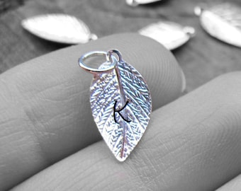 Silver Leaf Initial Add On. Personalized Hand Stamped Pendant-Charm for Necklace, Bracelets, Pendants.Leaves Charms. Silver Leaves, Initials