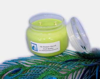 Fresh Bamboo Scented Soy Candle 12 oz Apothecary Jar Bright Green