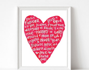 Love is Patient 1 Corinthians 13:4-8 Metallic Silver Foil Print 8x10 UNFRAMED