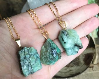 Raw Emerald Necklace // Emerald Necklace // Gold Emerald