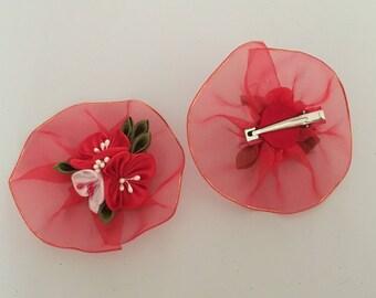 Kanzashi Red Flower Hair Clip, Kanzashi Hair Accessories